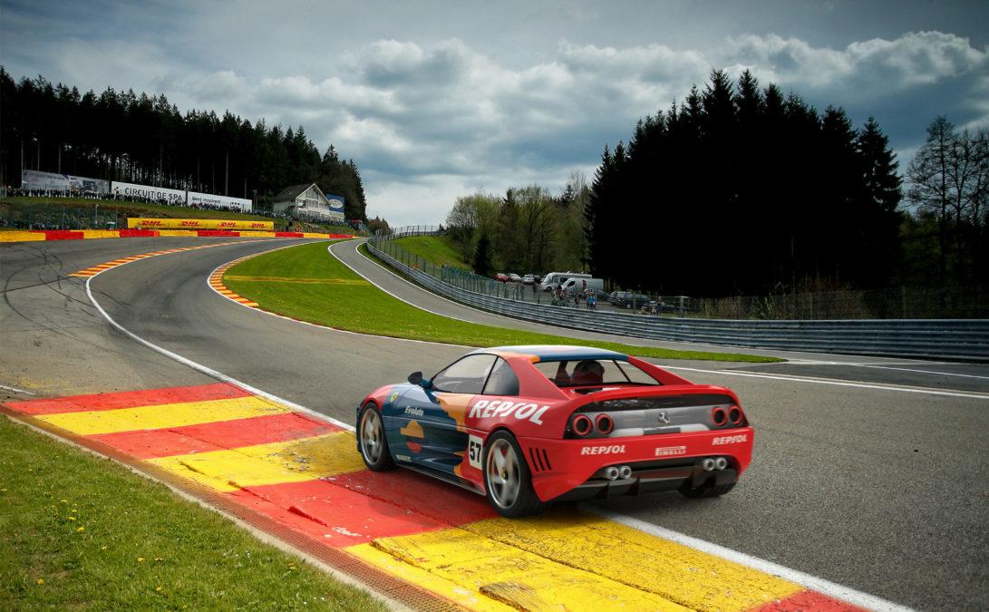 Custom Ferrari 348 - rear view track