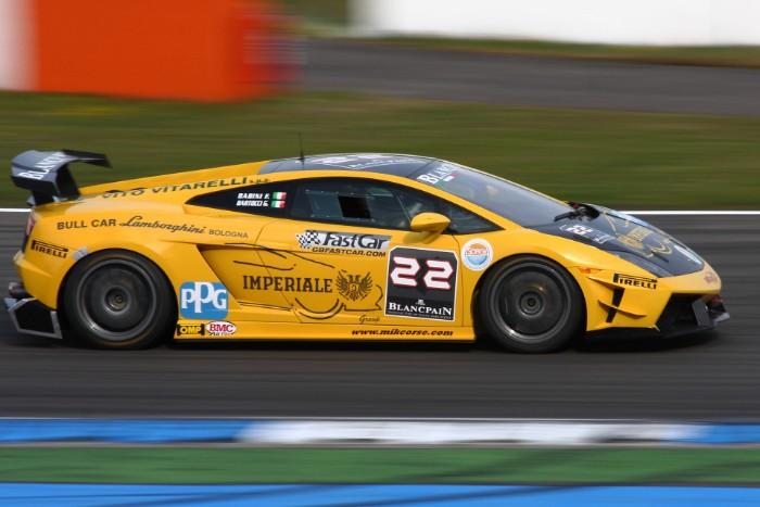 Lamborghini Gallardo Super Trofeo racing on the track