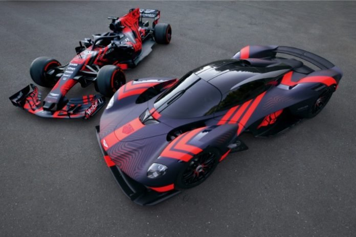 Aston Martin Valkyrie and Red Bull Racing RB14 at Silverstone 2019