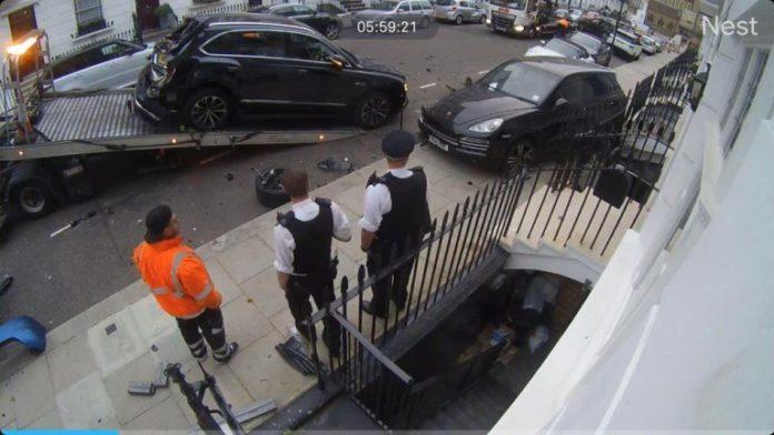 Audi Q7 crash scene in Chelsea, London