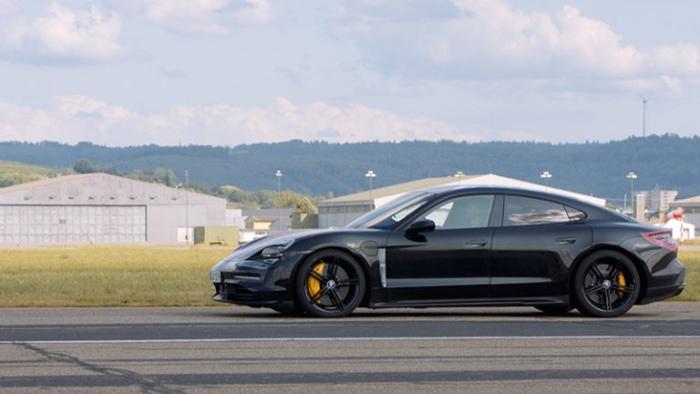 Porsche Taycan EV side view