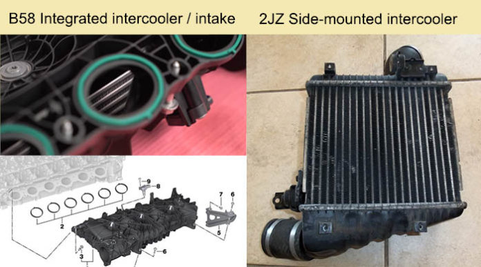 B58 integrated intercooler / intake manifold and the 2JZ side-mounted intercooler