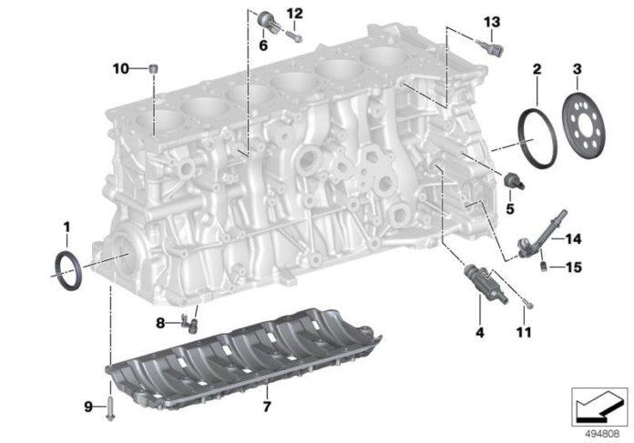 Diagram of the BMW B58 engine - girdle / windage plate