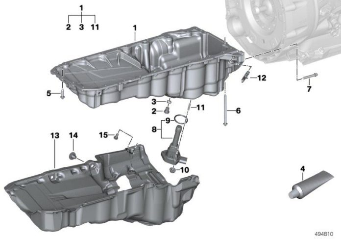 Diagram of the BMW B58 engine - oil pan