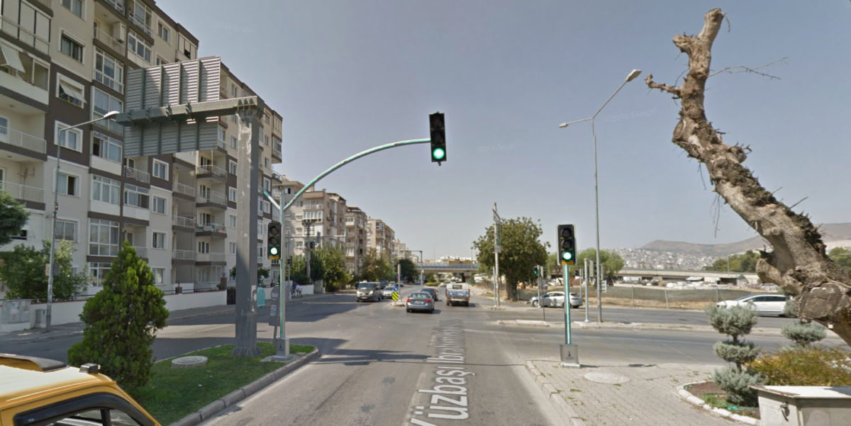Izmir, Turkey - LED strips on traffic light poles
