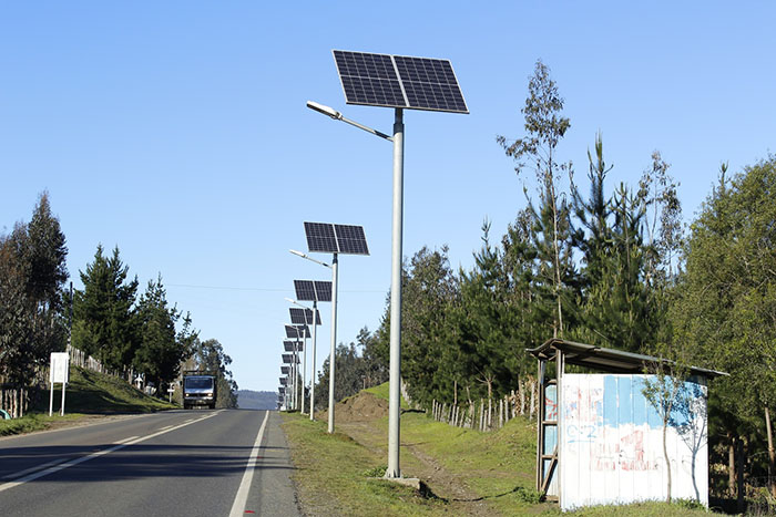 Solar powered street lightin in Johannesburg, South Africa