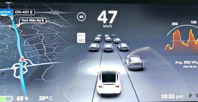 Tesla running Autopilot
